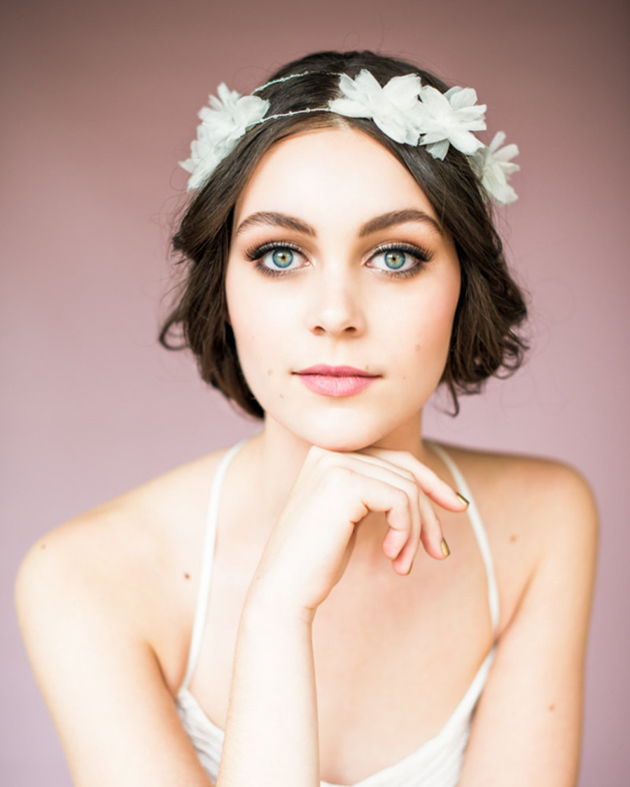 Ariel_Bridal Halo Headband with Silk Flowers