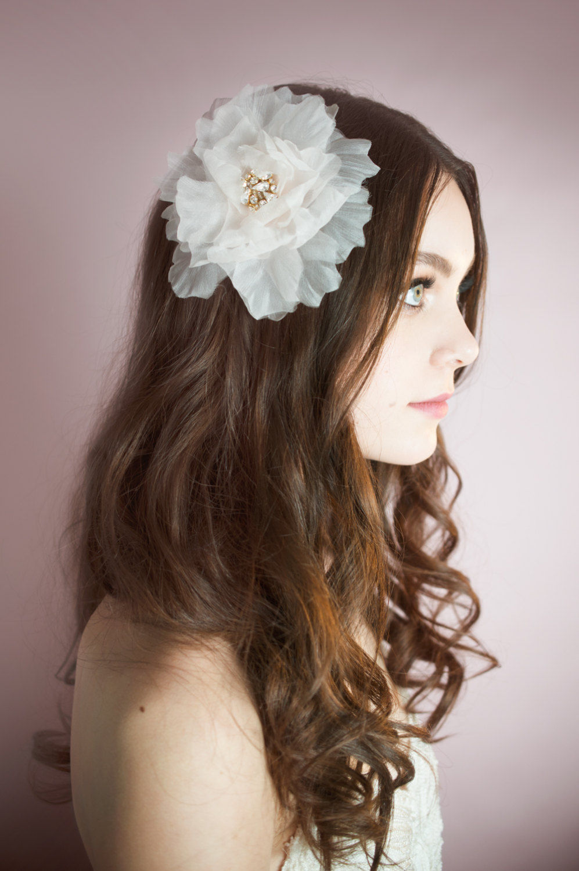 Breanne_Bridal Hair Accessory fascinator Organza Silk Flower