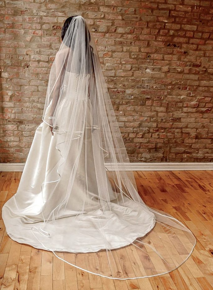 Charlotte_One Tier Couture Cathedral Bridal Veil with Satin Edge