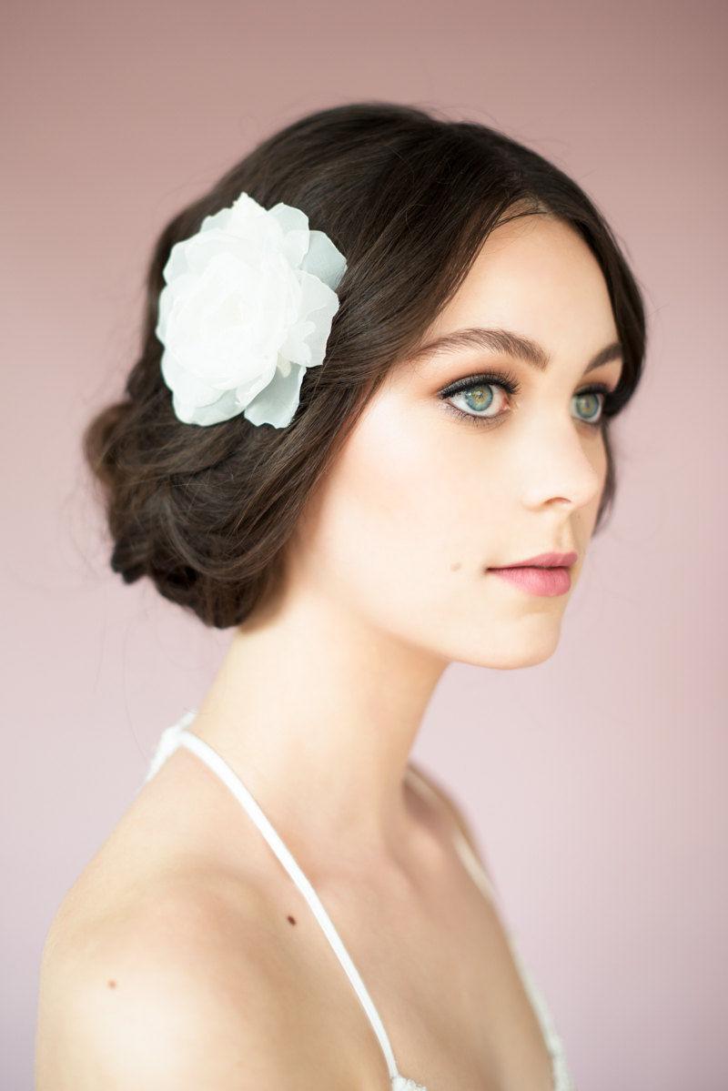 Erin_Bridal Hair Accessory_Organza Silk Flower Fascinator