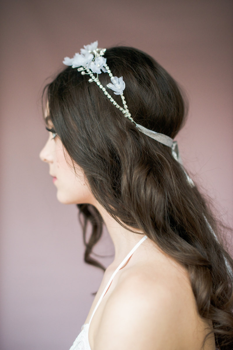 Eunice_Bridal Hair Accessory_Crystal Halo Headband with Silk Flowers