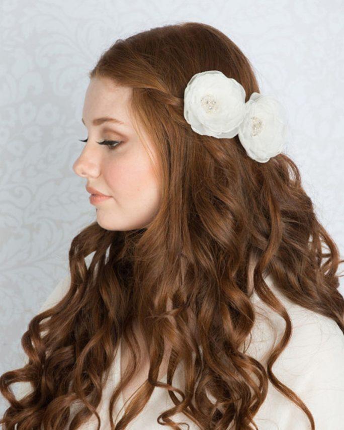 Hepburn_Bridal Hair Accessory_Organza Silk Flower Hair Clip