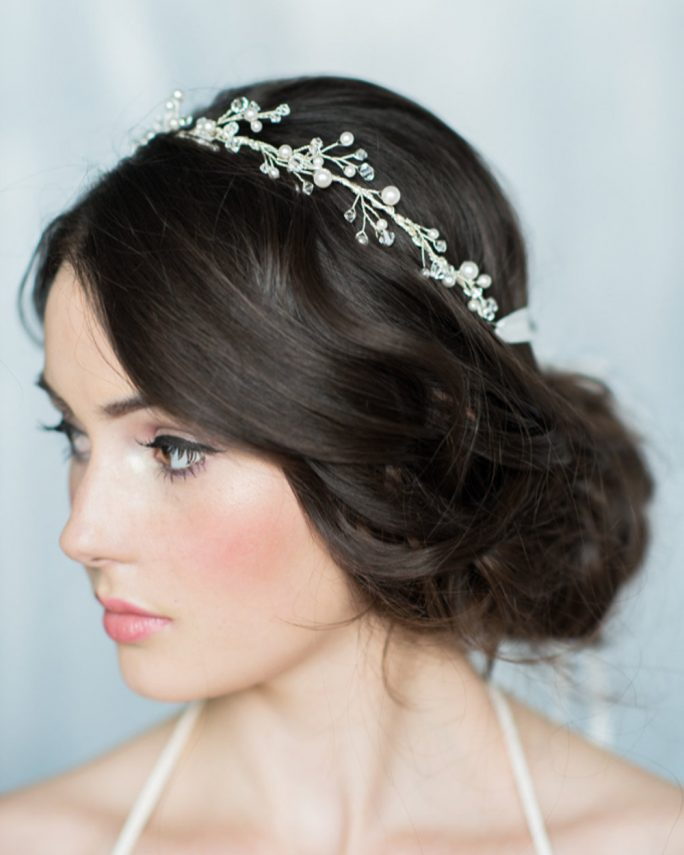 Kierra_Bridal Hair Accessory_Silver Halo Headband Crown with Crystals and Pearls
