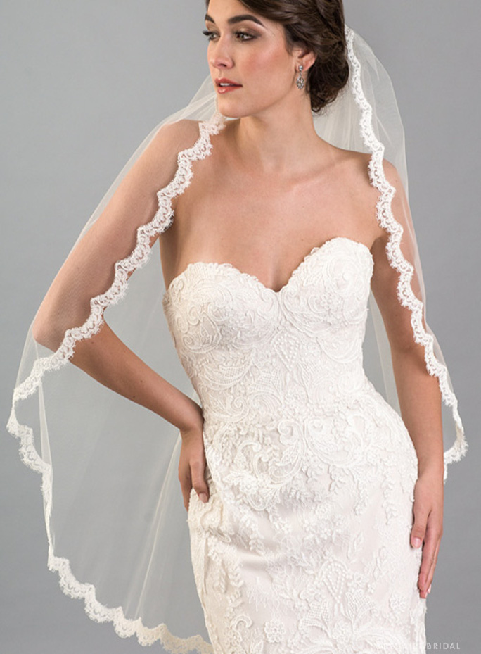 Mantilla_ One Tier Fingertip Length Bridal Veil with French Alençon Lace Edge_1 main product pic