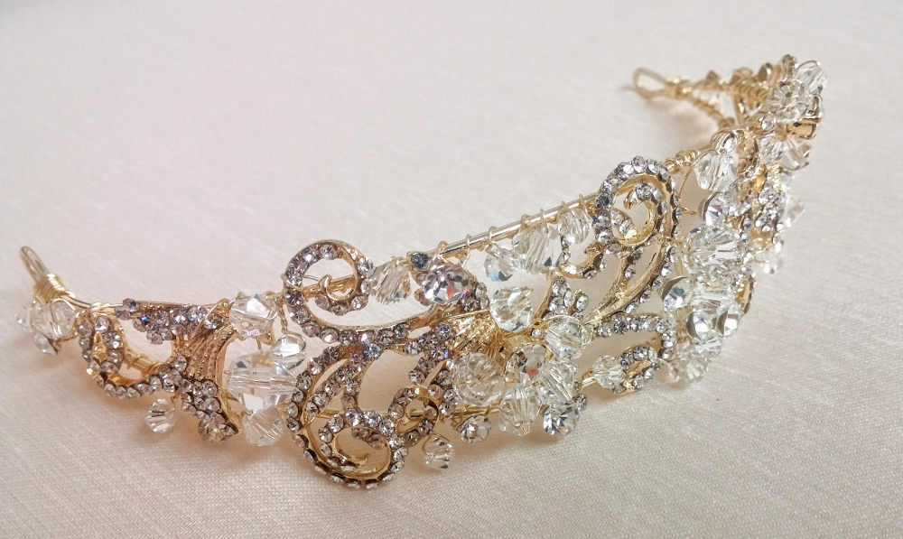 Victoria_Bridal Hair Accessory_Gold Crown Halo with Crystals