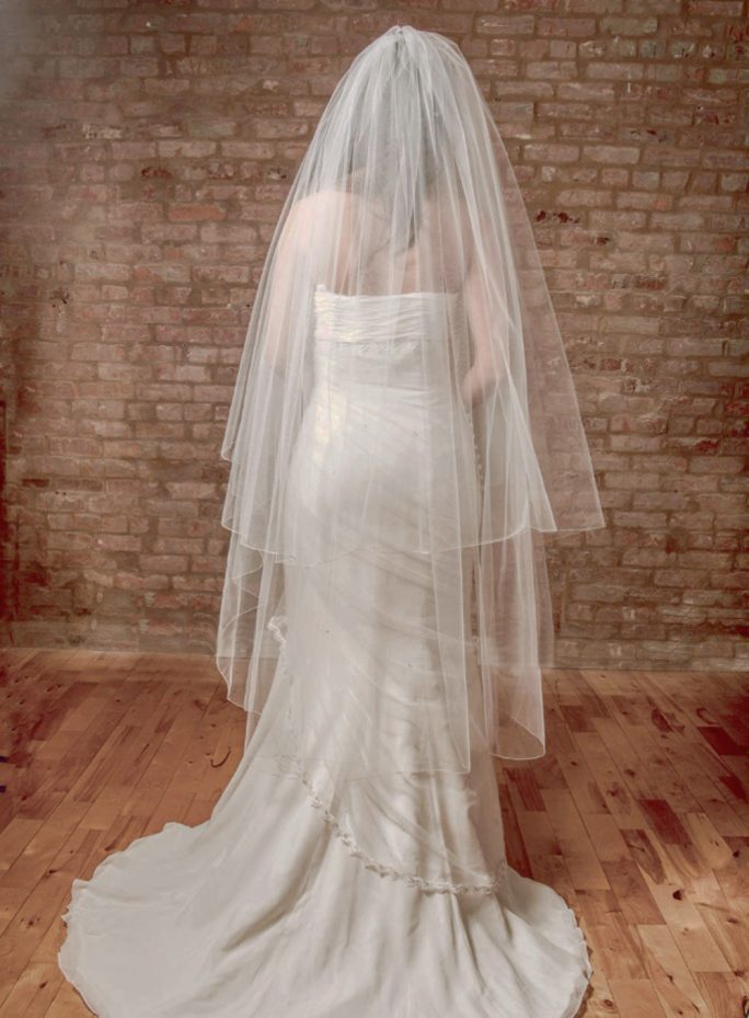 Angelique_Two Tier Waltz Length Couture Bridal Veil with Silver Rolled Edge