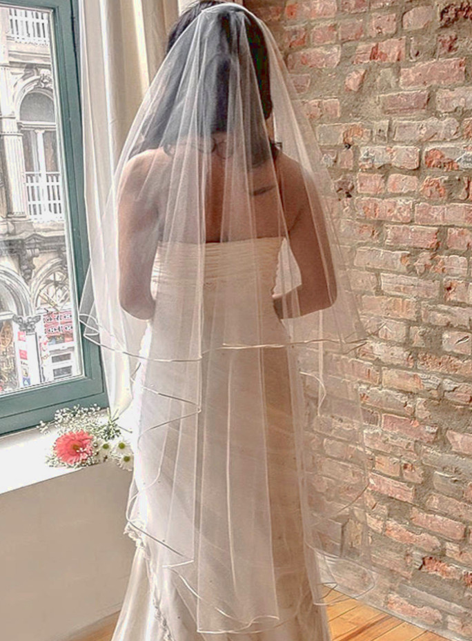 Margaret_Two Tier Waltz Length Bridal Veil with Satin Ribbon Edge_4 main product pic