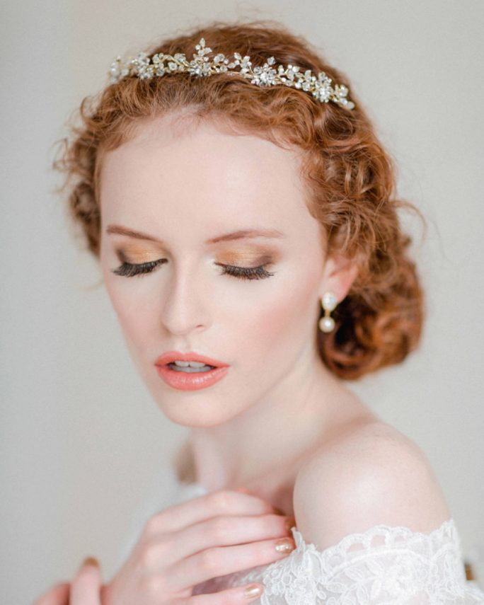 Suzanna_Bridal Hair Accessory_Gold Crown with Crystals