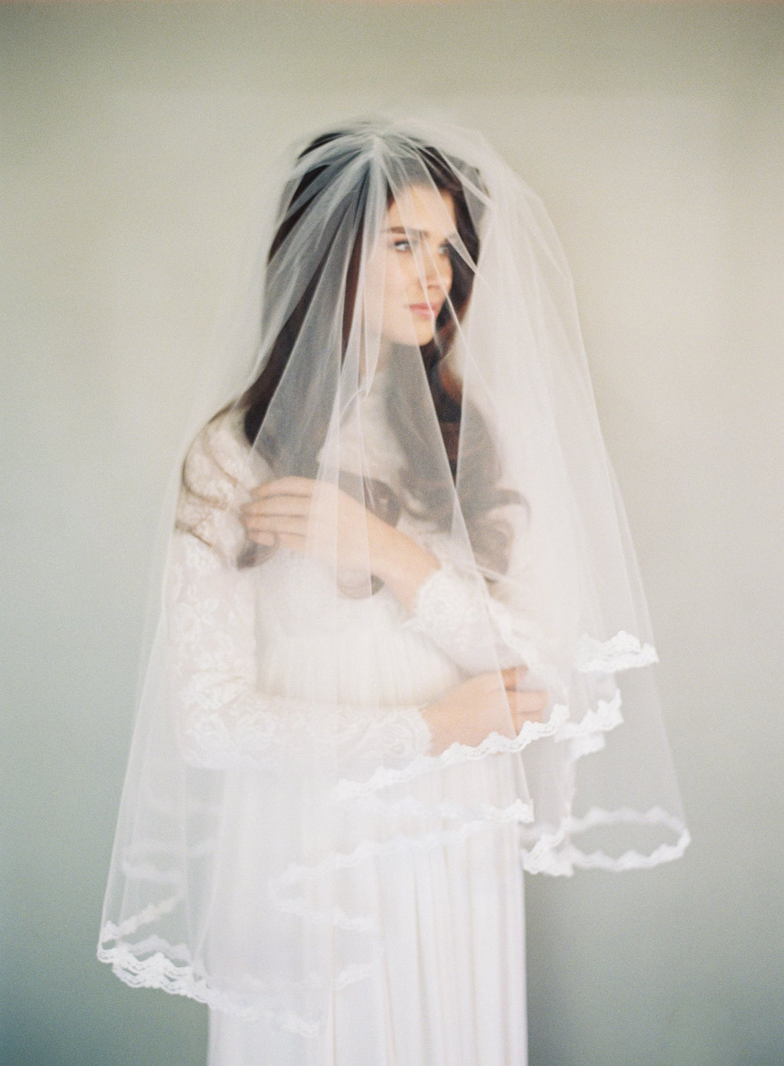 Avigail Veil_Two Tier Couture Fingertip Bridal Veil with Lace Edge