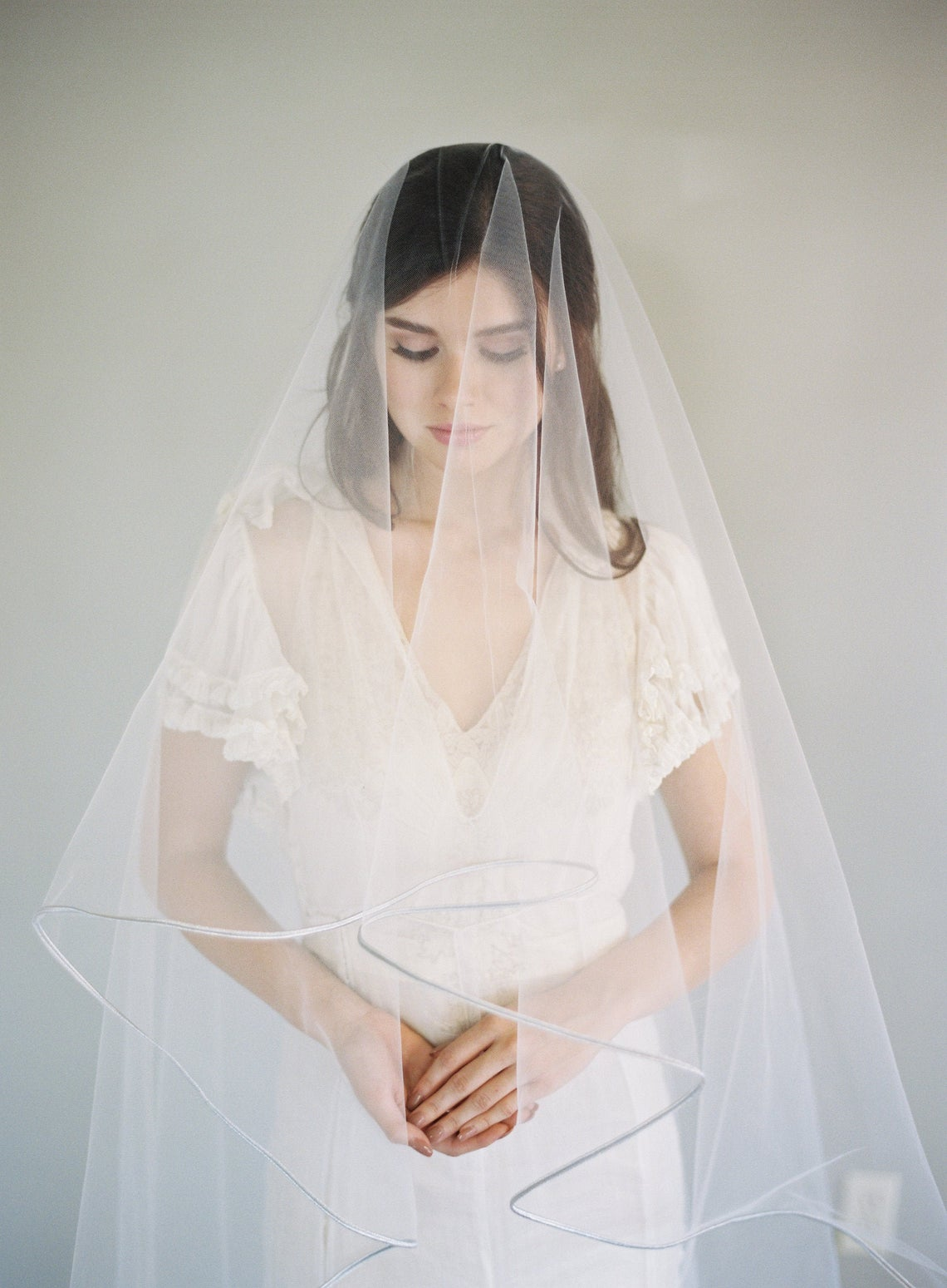 Chloe Veil_Two-Tier Waltz Length Bridal Veil with Chantilly French Lace Appliqués