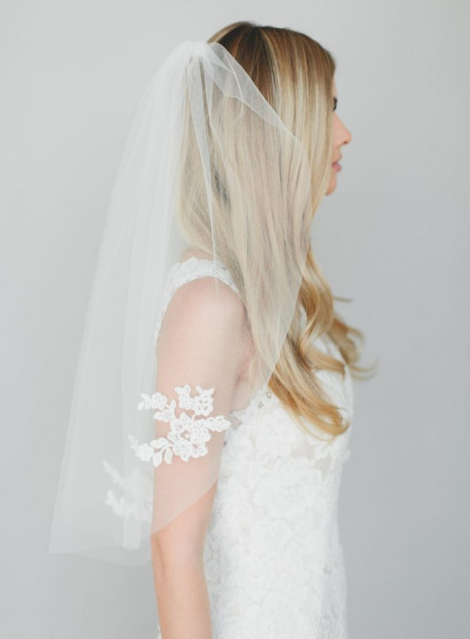 Lilly Veil_ One Tier Elbow Length Bridal Veil with Alençon Lace Appliqués