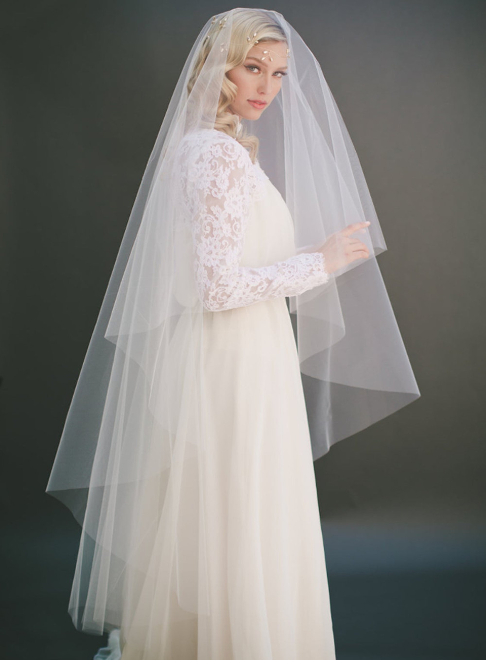 Olivia_Two Tier Waltz Length Bridal Veil with Cut Edge_3 main product pic