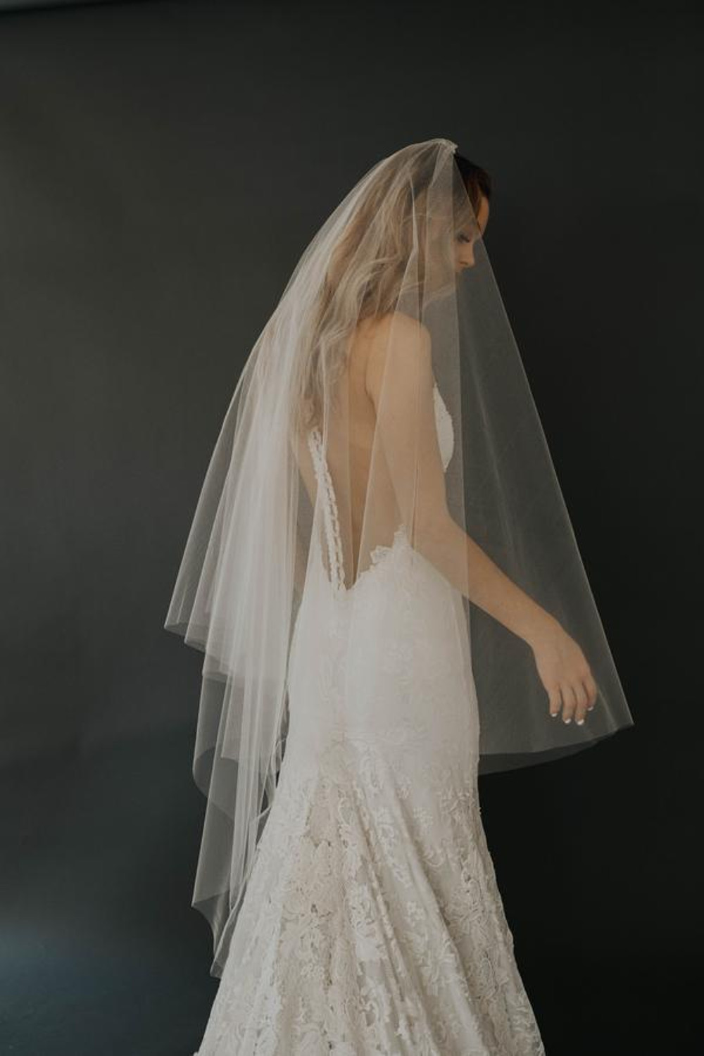 Rebecca_Two Tier Fingertip Length Bridal Veil with Cut Edge