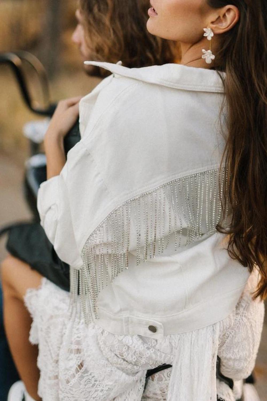 Selena_Stylish Bridal Bolero white jean jacket with rhinestones fringe