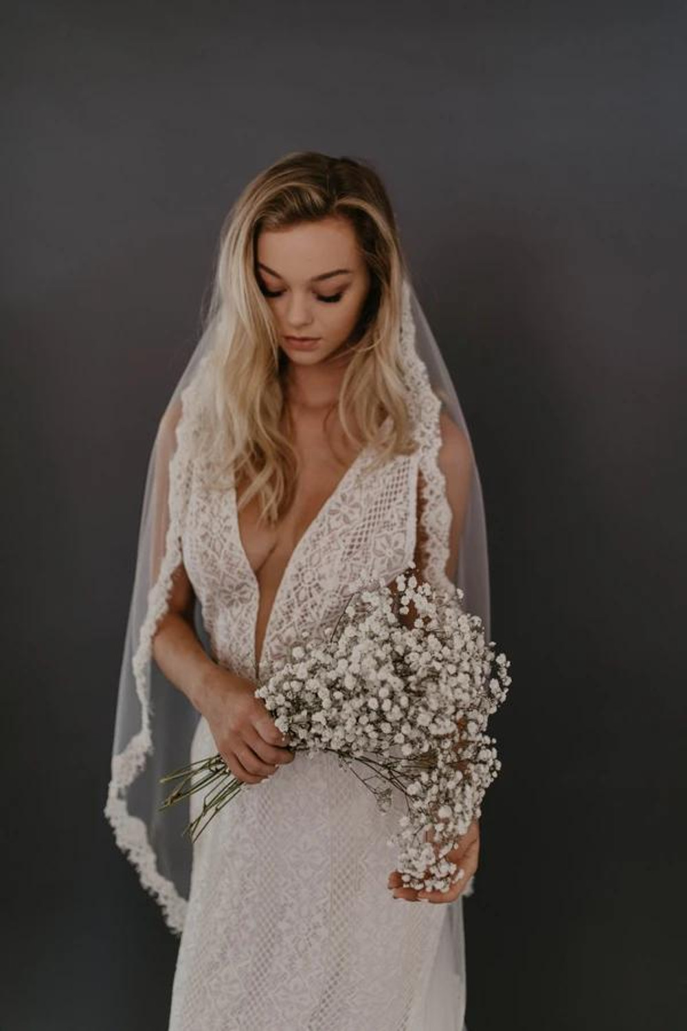 Edwin_One Tier Cathedral Mantilla Bridal Veil with Lace Edge