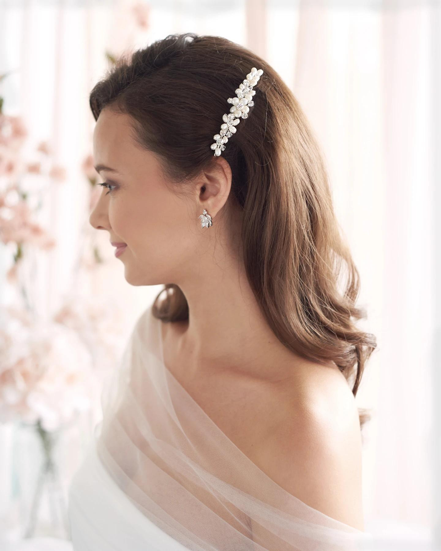 Abbey_Bridal silver crystal Comb with freshwater pearls