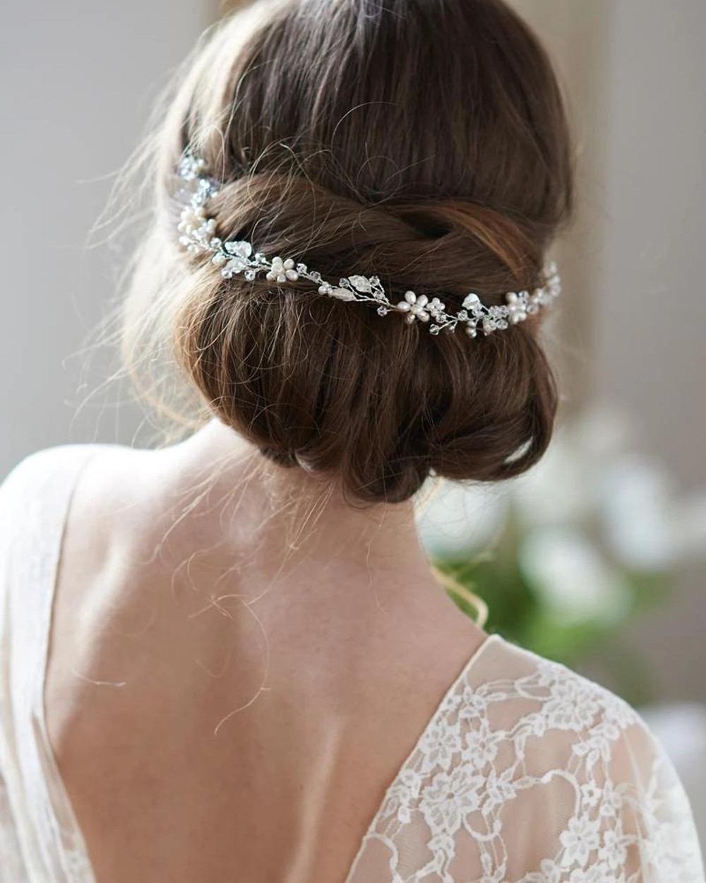 Adela_Bridal floral Halo Headband hair vine with pearls and crystals