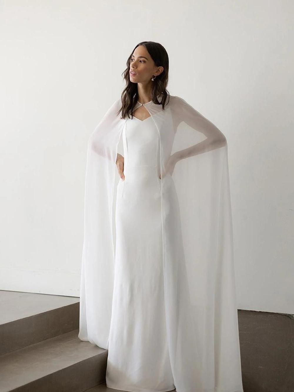 Freya_Dramatic Long Chiffon Bridal Cape