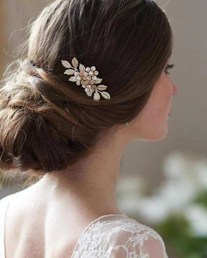 Hannah_petite floral metal Bridal Hair Pins with crystals