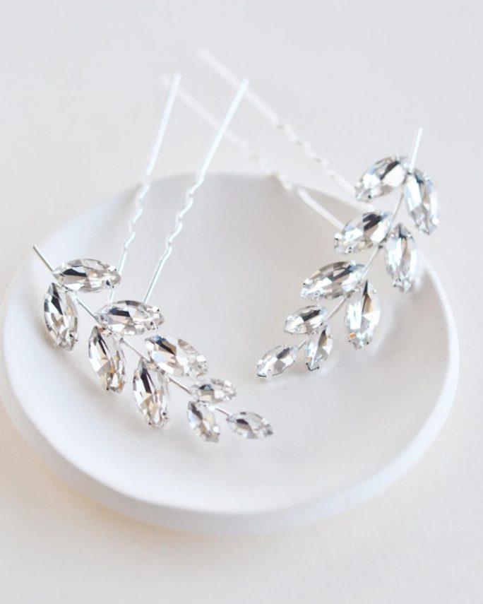 Mali_Set of 2 Bridal Crystal Hair Pins