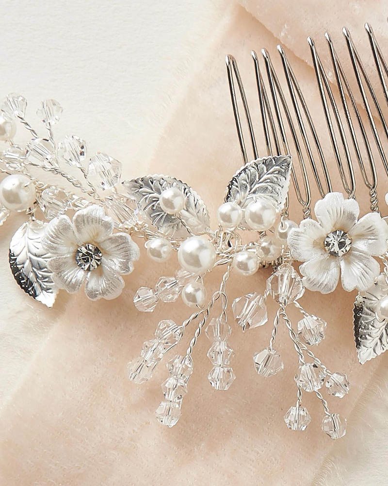 Josette_Bridal wedding Comb with enamel flowers, crystals, metal leaves and pearls