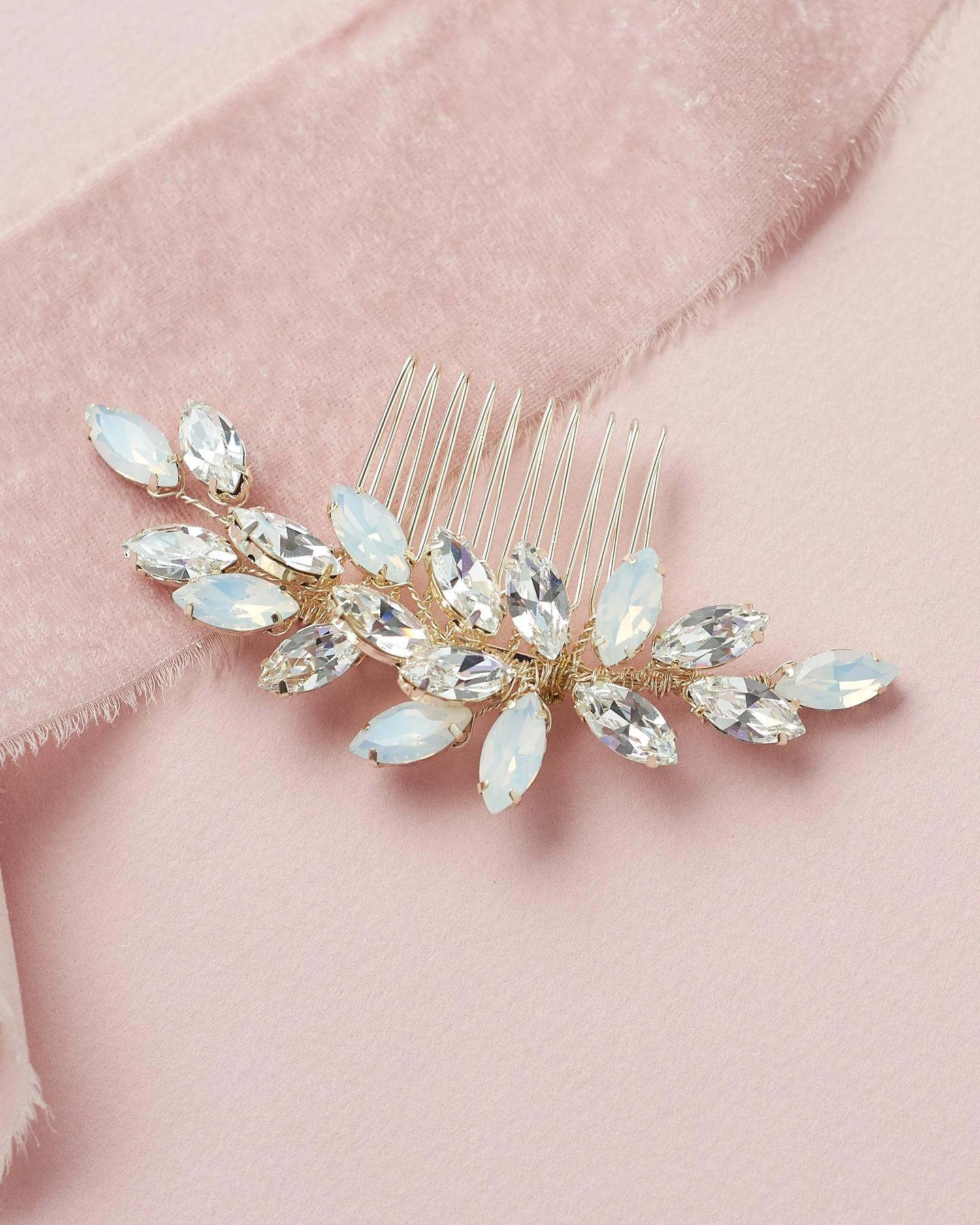 Nora_Bridal wedding Comb silver, gold with crystals and opals