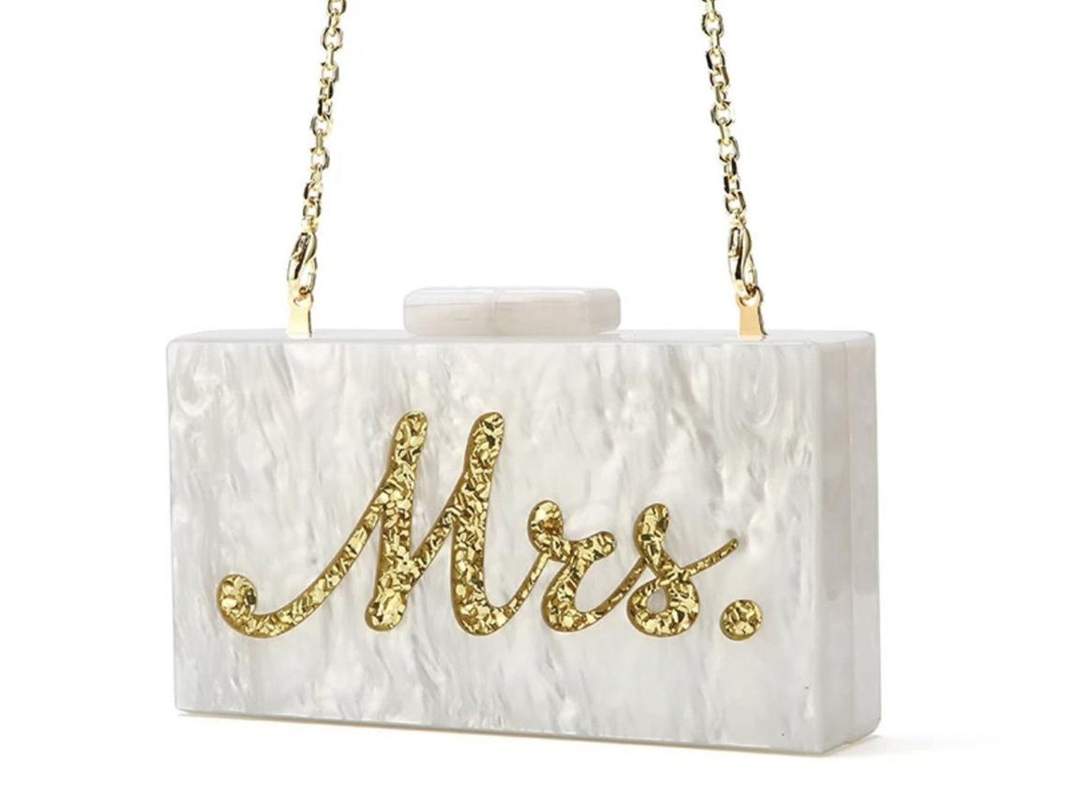 Mrs Gold_wedding bachelorette acrylic clutch bag with engraving