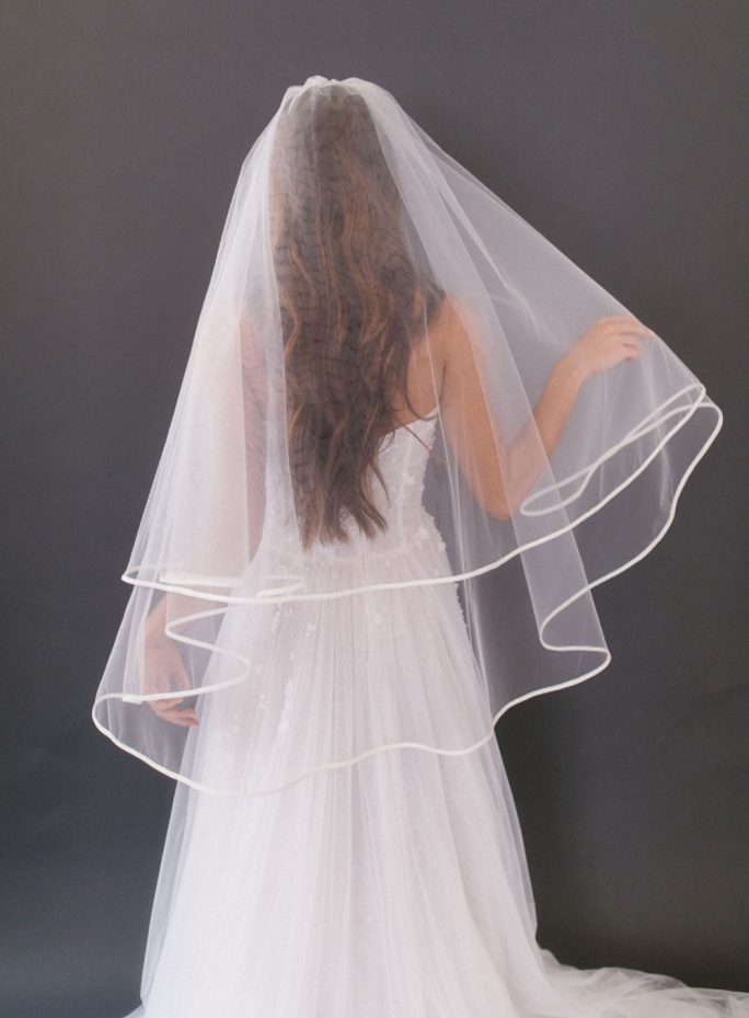 Erica_Two Tier Fingertip Bridal Veil with Satin Silk Edge