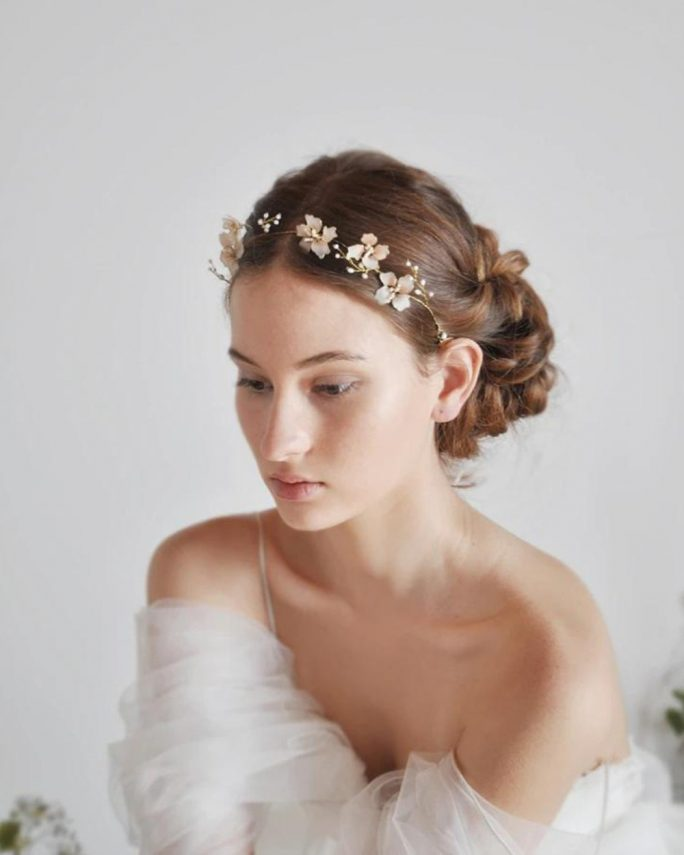Violet_Cherry flower bridal hair crown with freshwater pearls